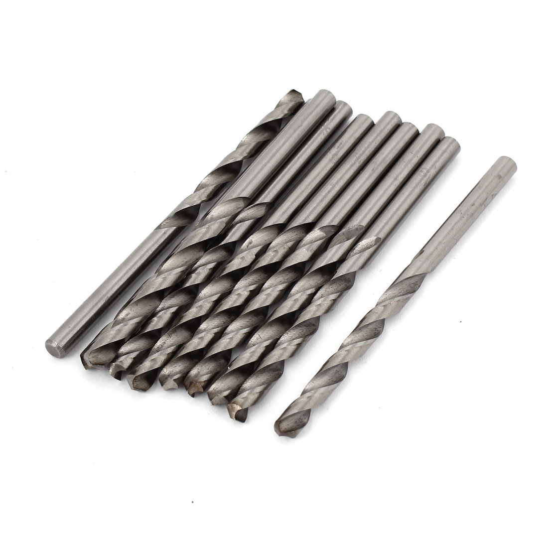 10pcs 4.1mmx45mm High Speed Steel Straight Shank 2 Flutes Twist Drilling Bit