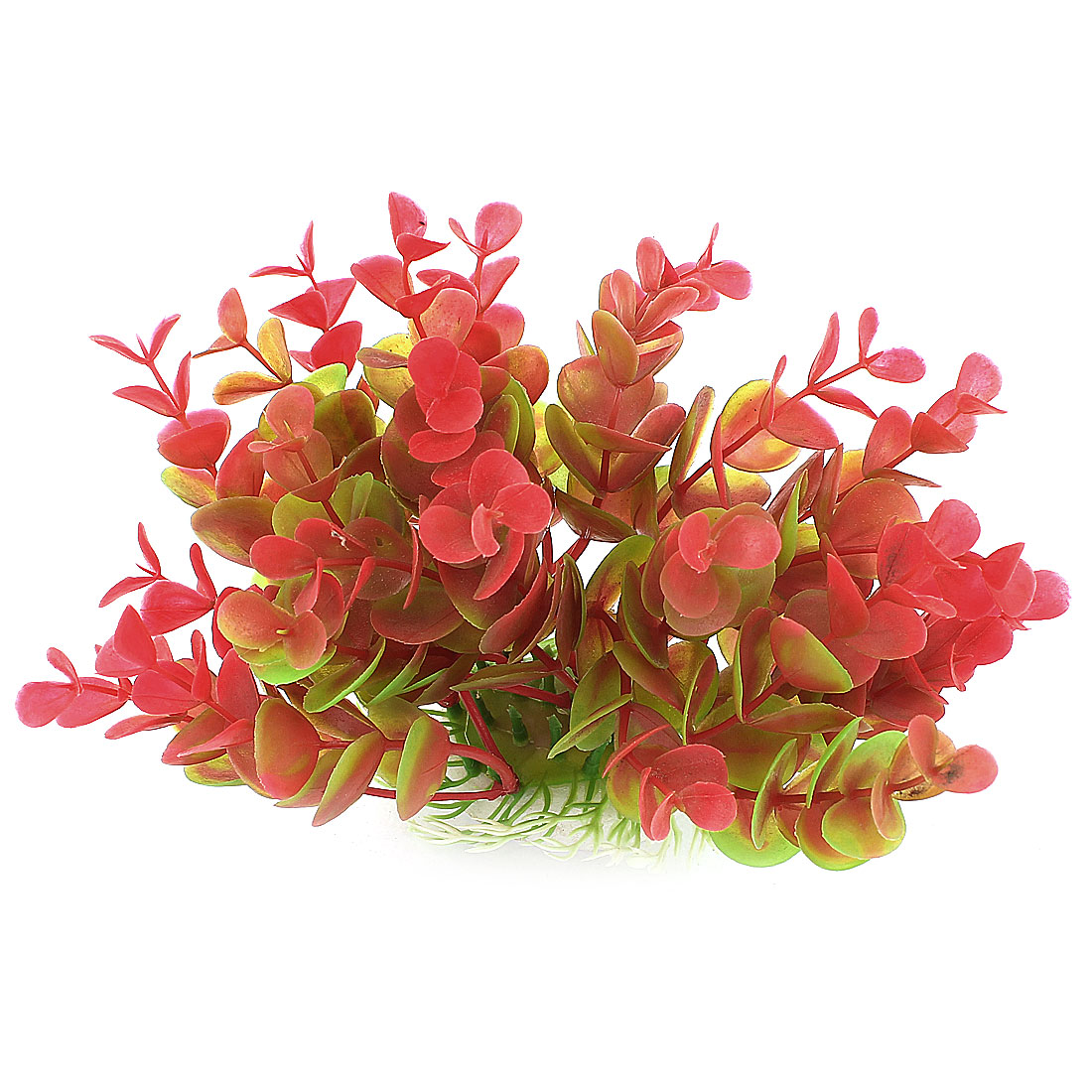 Aquarium Red Plastic Artificial Leaf Grass Plant Decoration 12cm Height