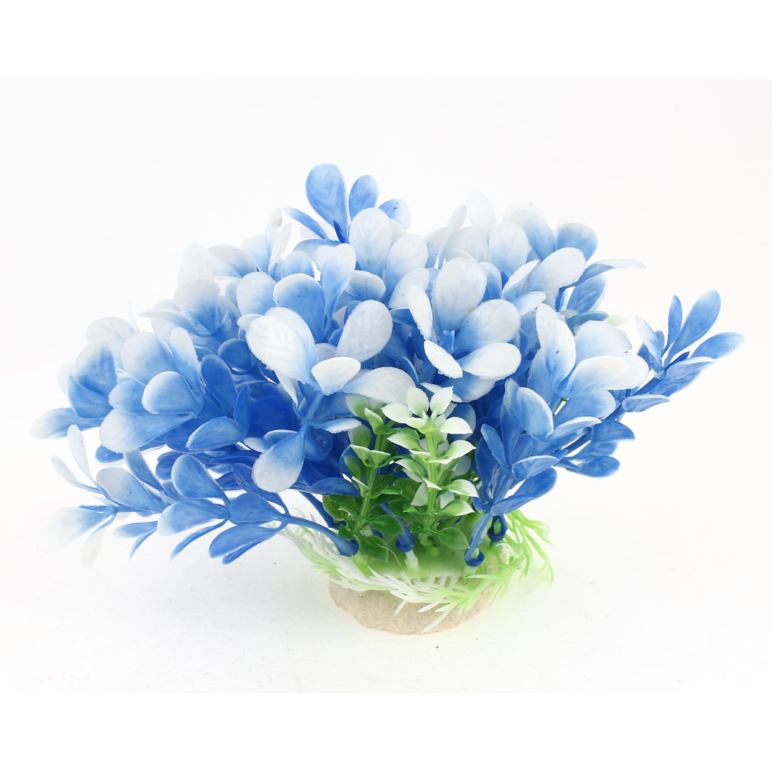 "4"" High Blue White Plastic Artificial Aquatic Plant Accent for Aquarium Fish Tank"