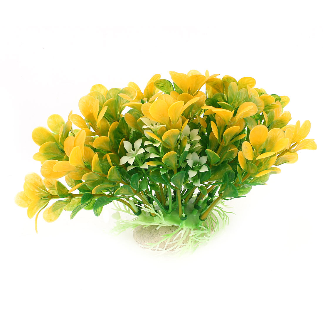 "4"" High Green Yellow Plastic Artificial Underwater Grass Accent for Aquarium"
