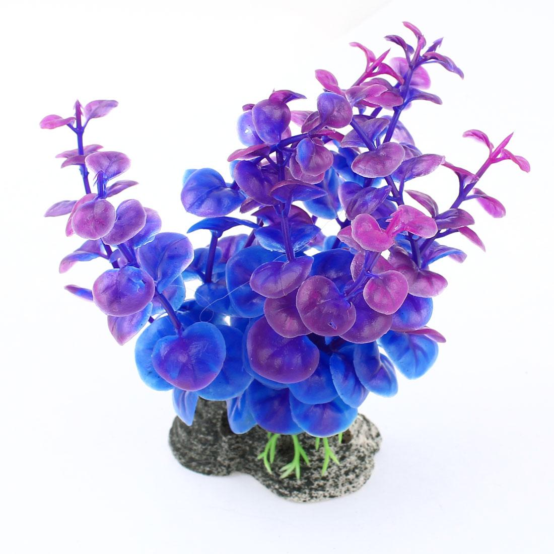 Aquarium Purple Plastic Artificial Grass Plant Decoration 12cm Height