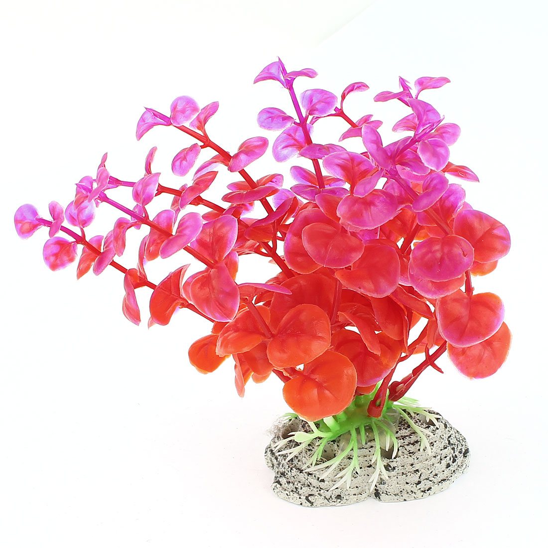 Aquarium Red Fuchsia Plastic Artificial Grass Plant Decoration 12cm Height