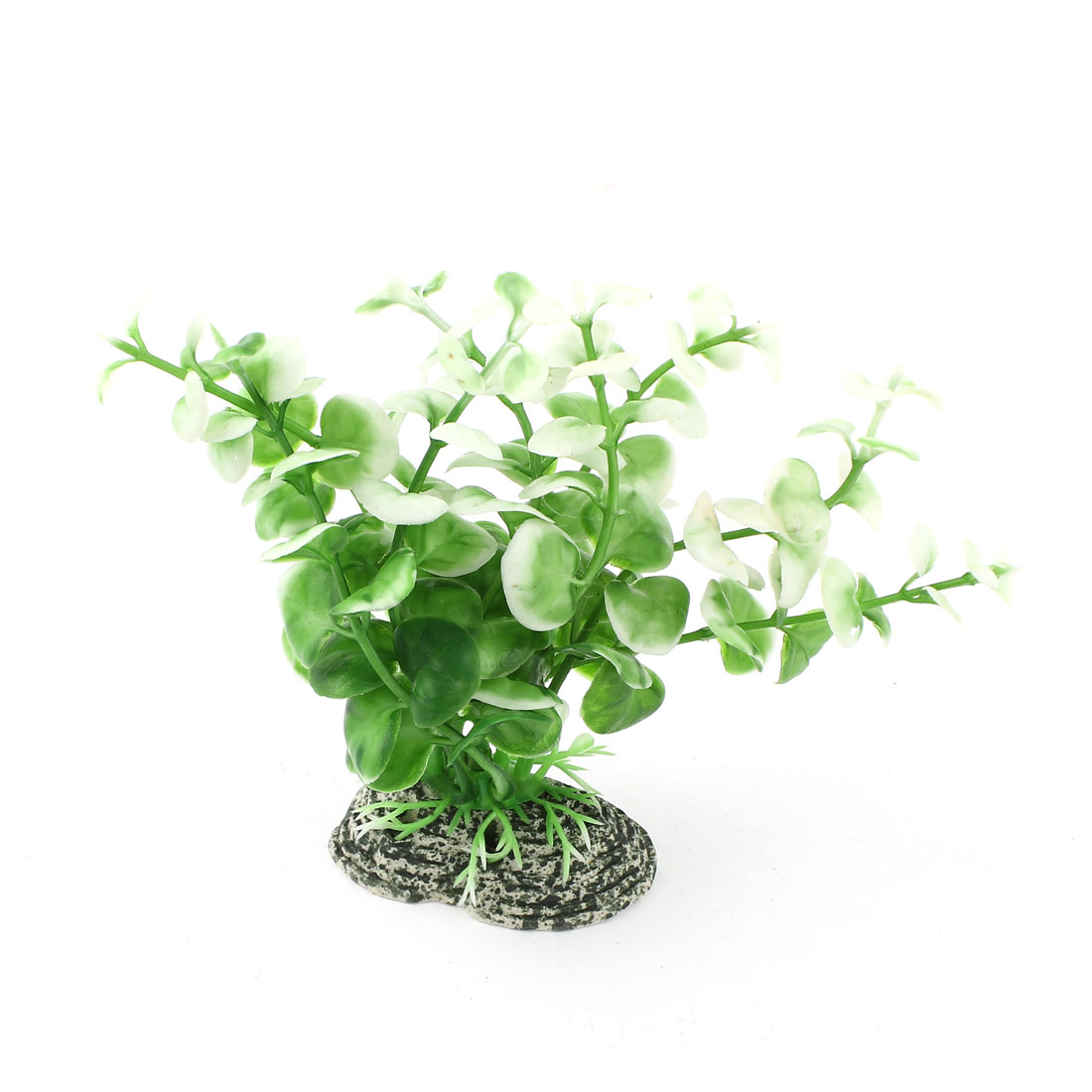 Aquarium Green White Plastic Artificial Grass Plant Decoration 12cm Height