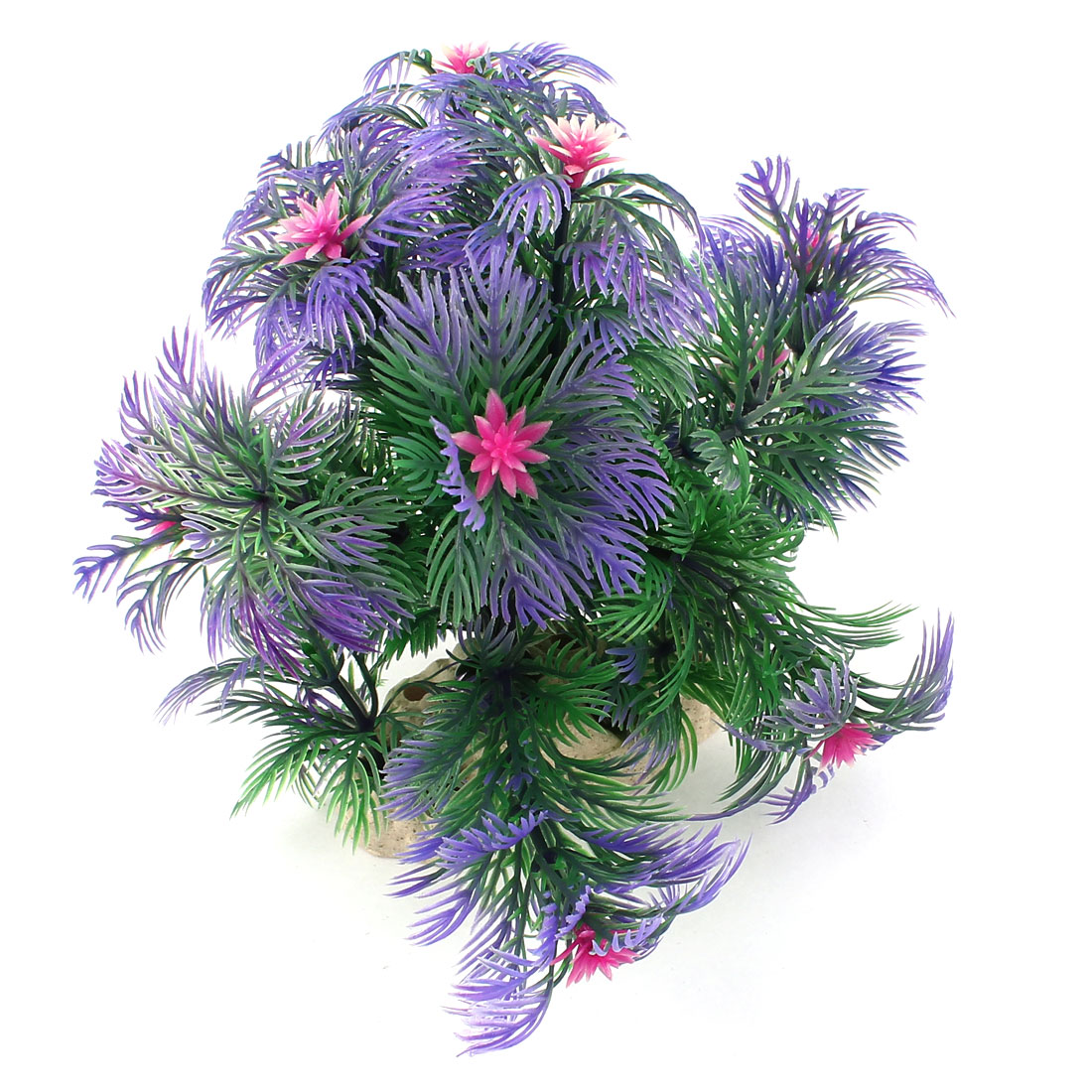 15cm High Artificial Purple Pine Tree Pink Bud Decor for Fish Tank