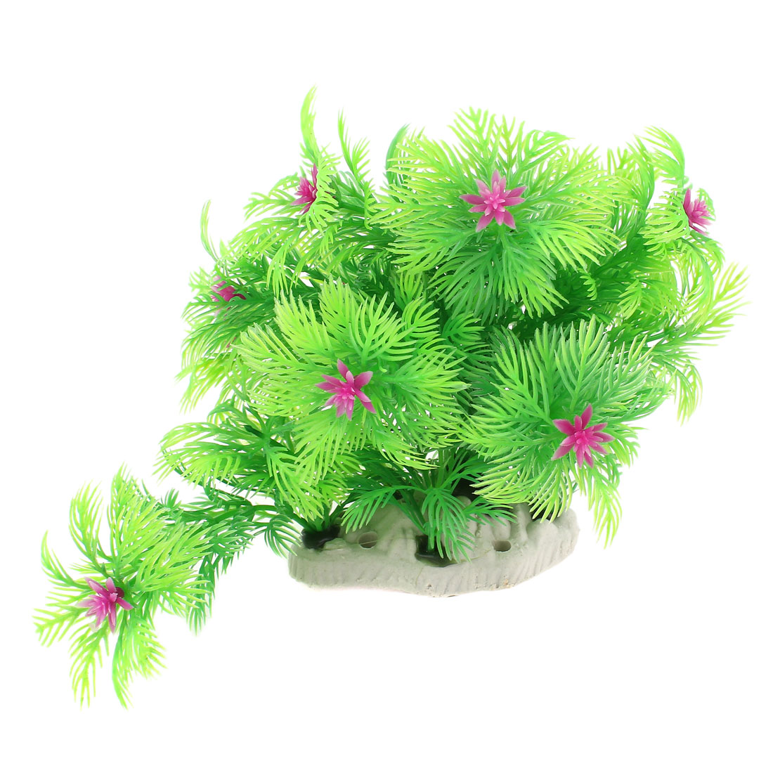 18cm Width Artificial Green Pine Tree Pink Bud Decor for Fish Tank