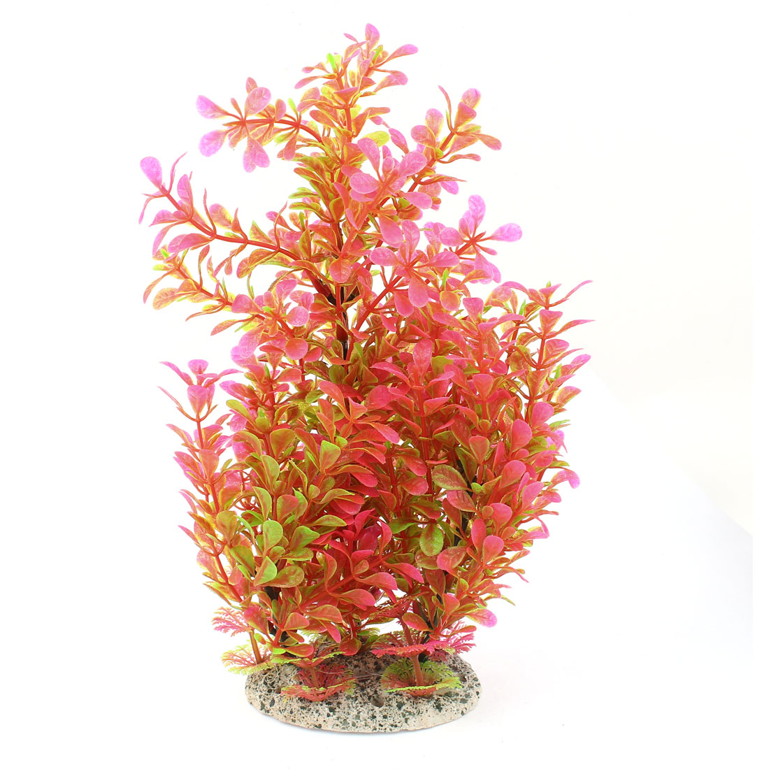 "Aquarium Pink Plastic Artificial Leaf Tree Plant Decoration 11"" Height"