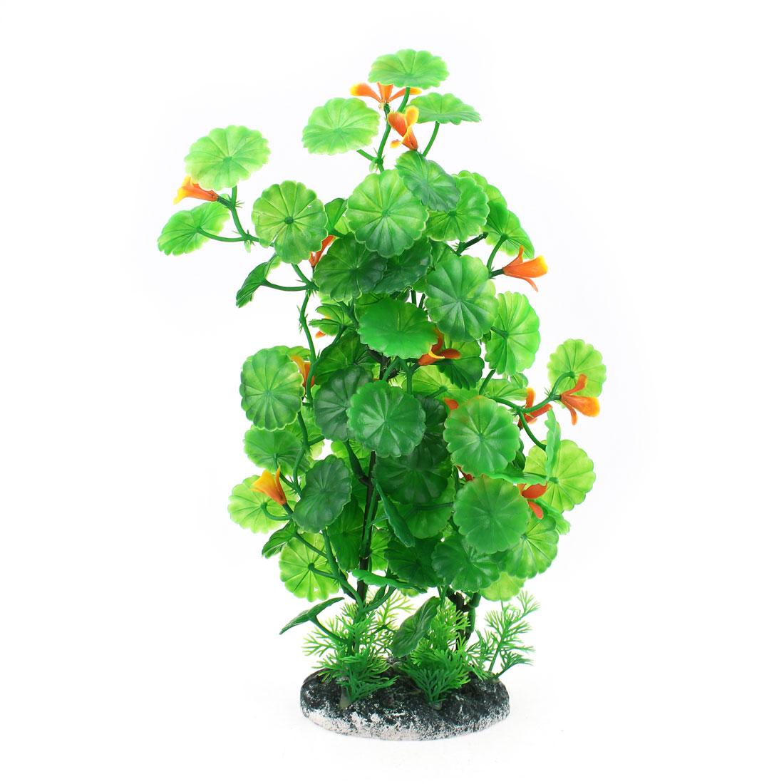30cm Height Artificial Plastic Orange Bud Green Grass Plant for Aquarium