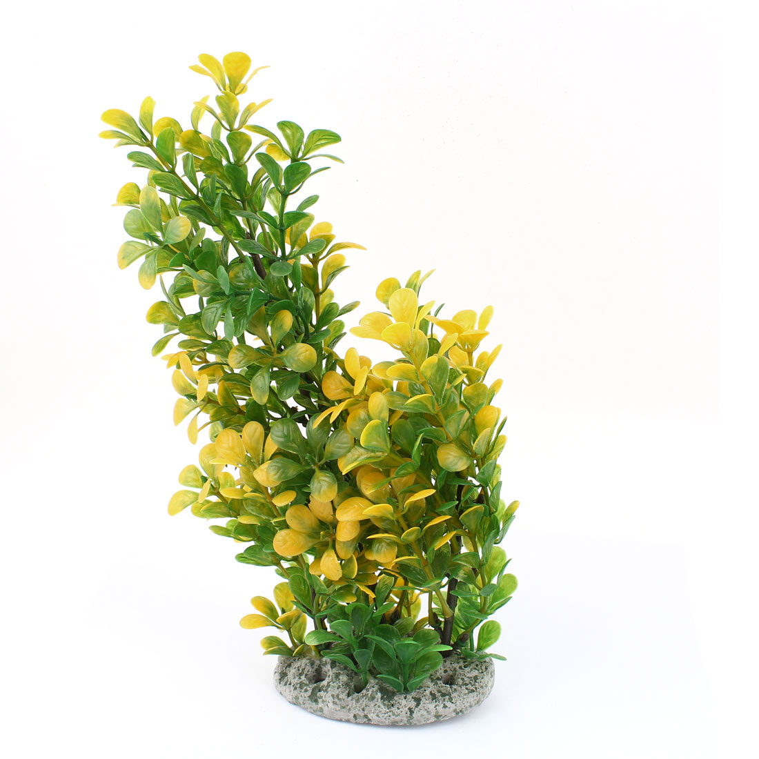 "Fish Tank Accent Green Yellow Artificial Leaf Tree Water Plant 11"" High"