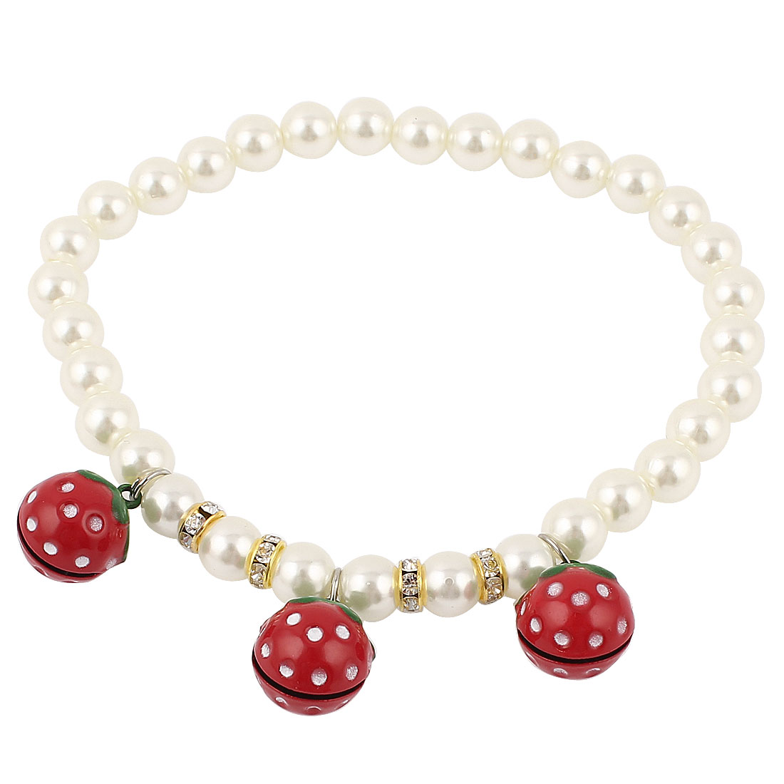 Metal Bell Pendant Rhinestions Accent Pet Plastic Beads Imitation Pearls Collar Necklace White Red M