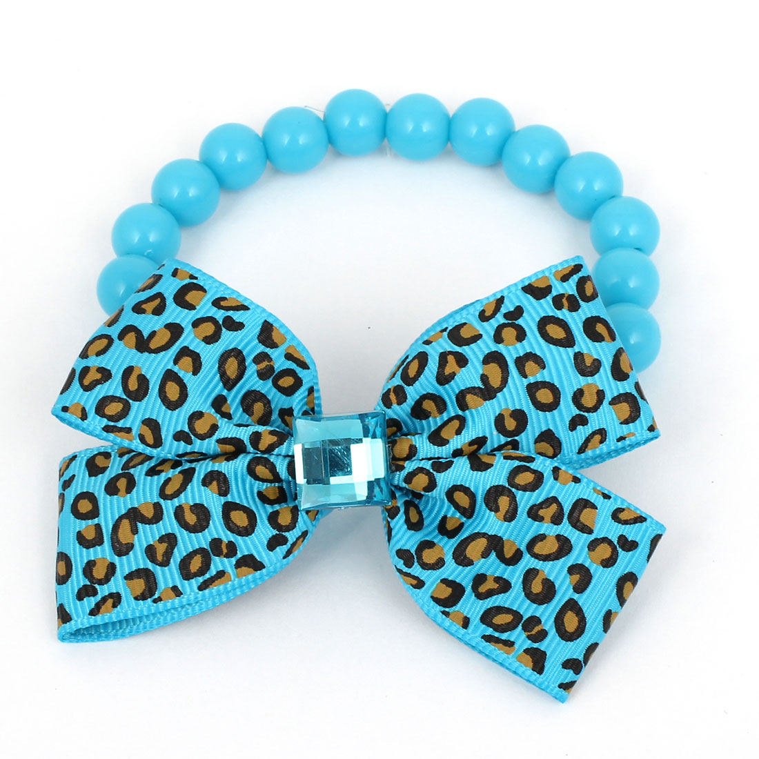 Leopard Pattern Bowtie Accent Pet Dog Plastic Round Beads Collar Necklace Blue XS