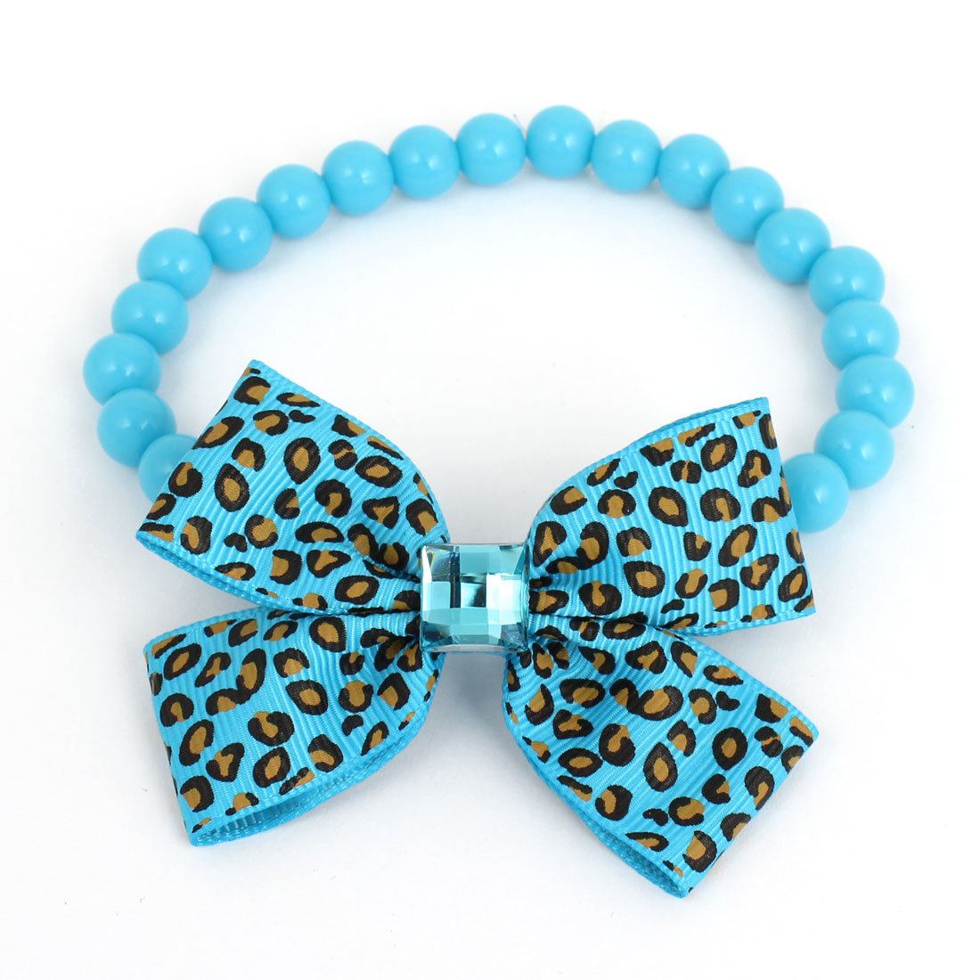 Leopard Pattern Bowtie Accent Pet Dog Plastic Round Beads Collar Necklace Blue L