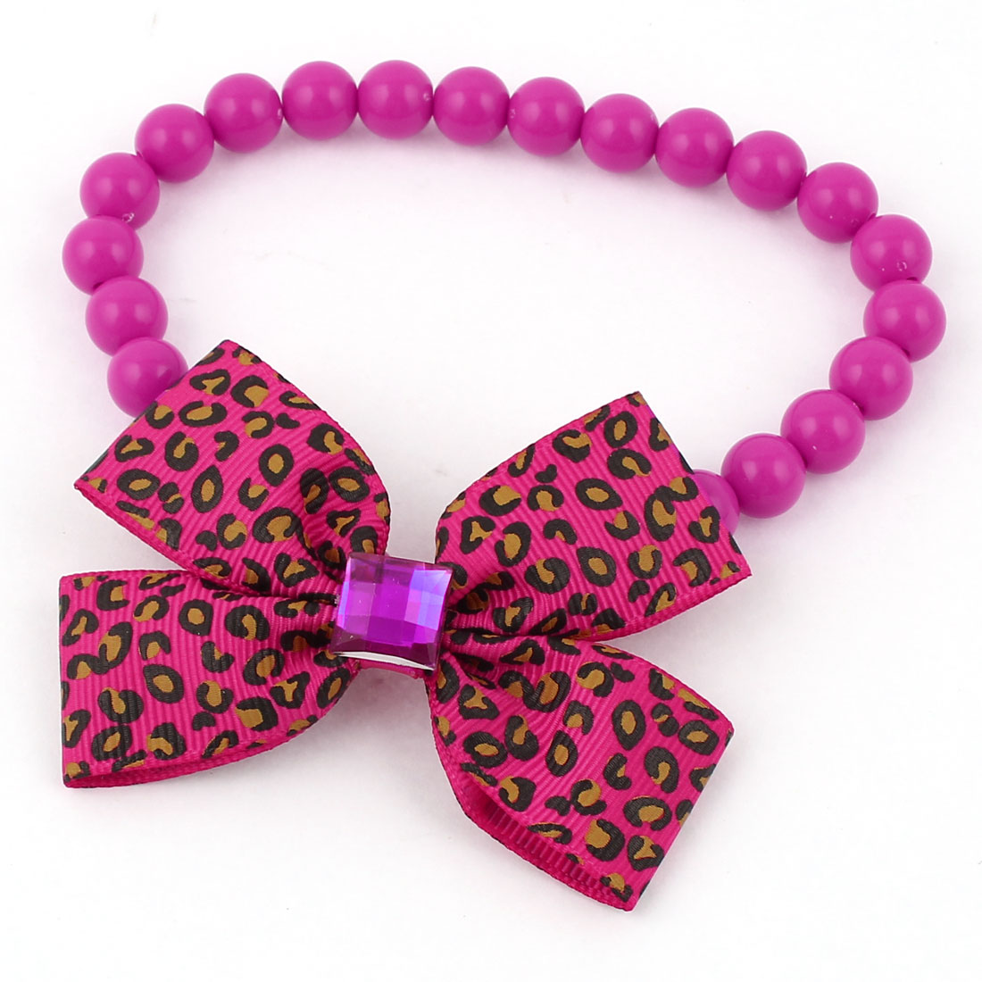 Faux Crystal Bowtie Accent Pet Dog Plastic Beads Collar Necklace Fuchsia XS