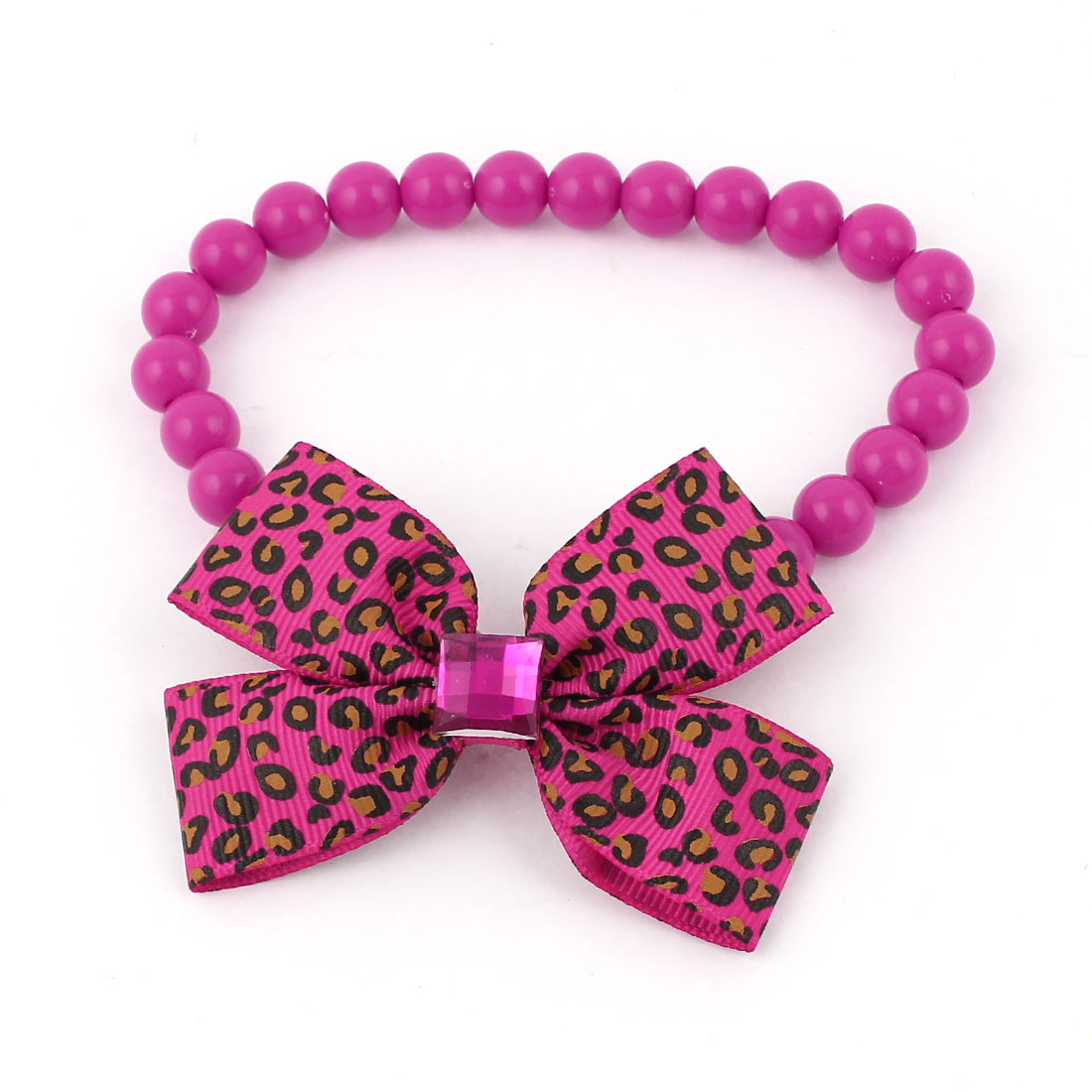 Faux Crystal Bowtie Accent Pet Dog Plastic Beads Collar Necklace Fuchsia S