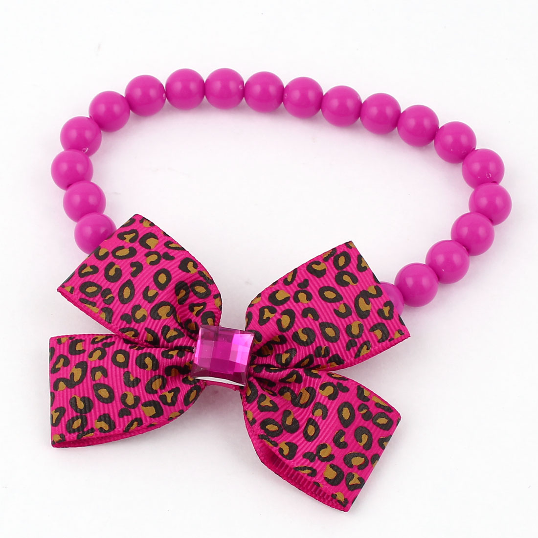 Faux Crystal Bowtie Accent Pet Dog Plastic Beads Collar Necklace Fuchsia M