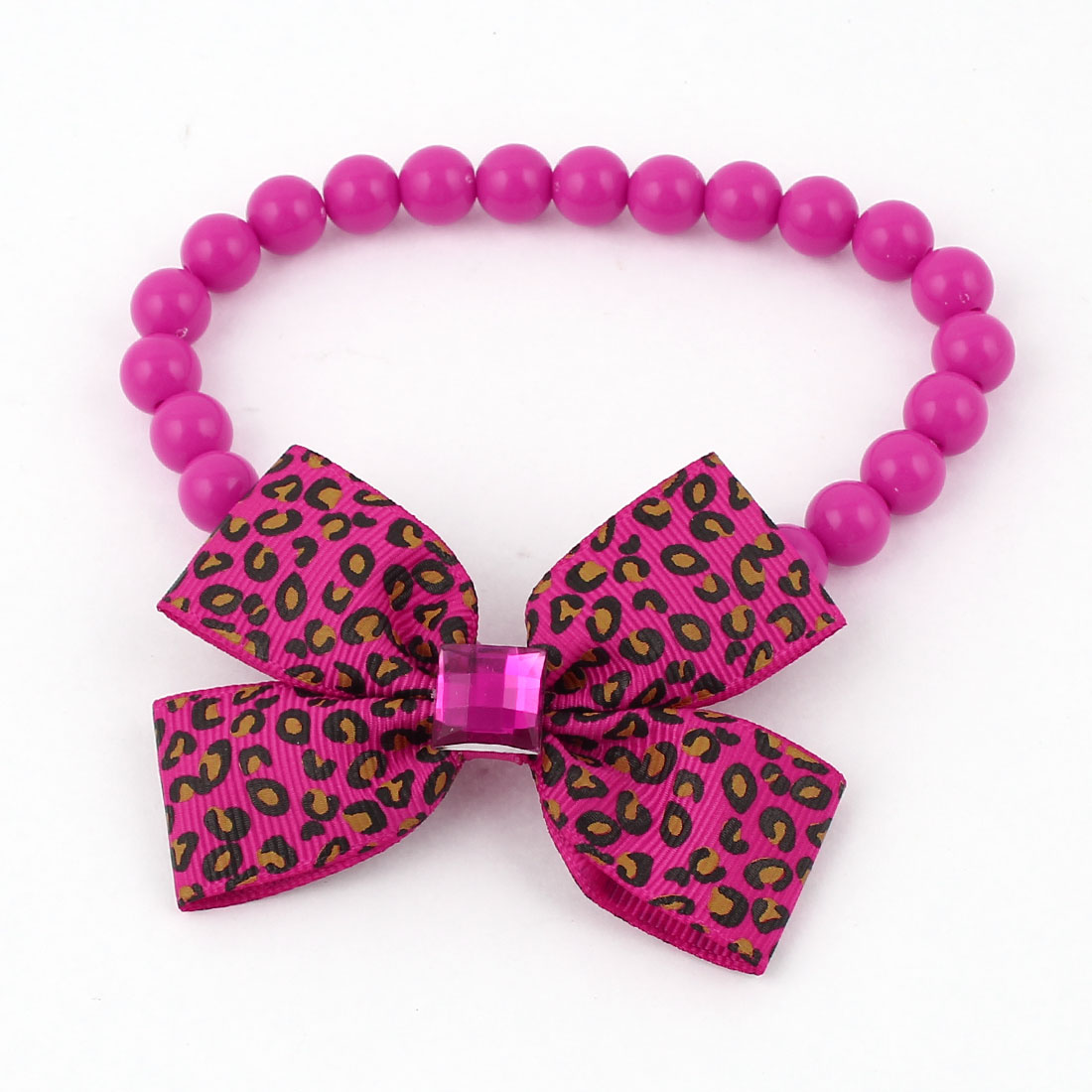 Faux Crystal Accent Plastic Beads Elastic Collar Necklace Fuchsia L for Pet Dog