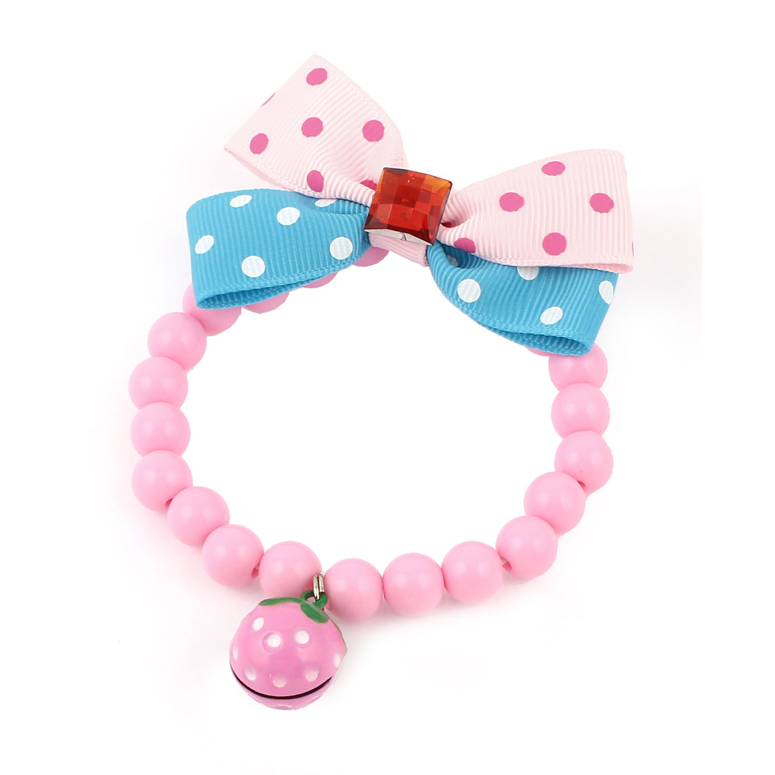 Metal Bell Pendant Bowtie Accent Pet Dog Plastic Beads Collar Necklace Pink Blue XS
