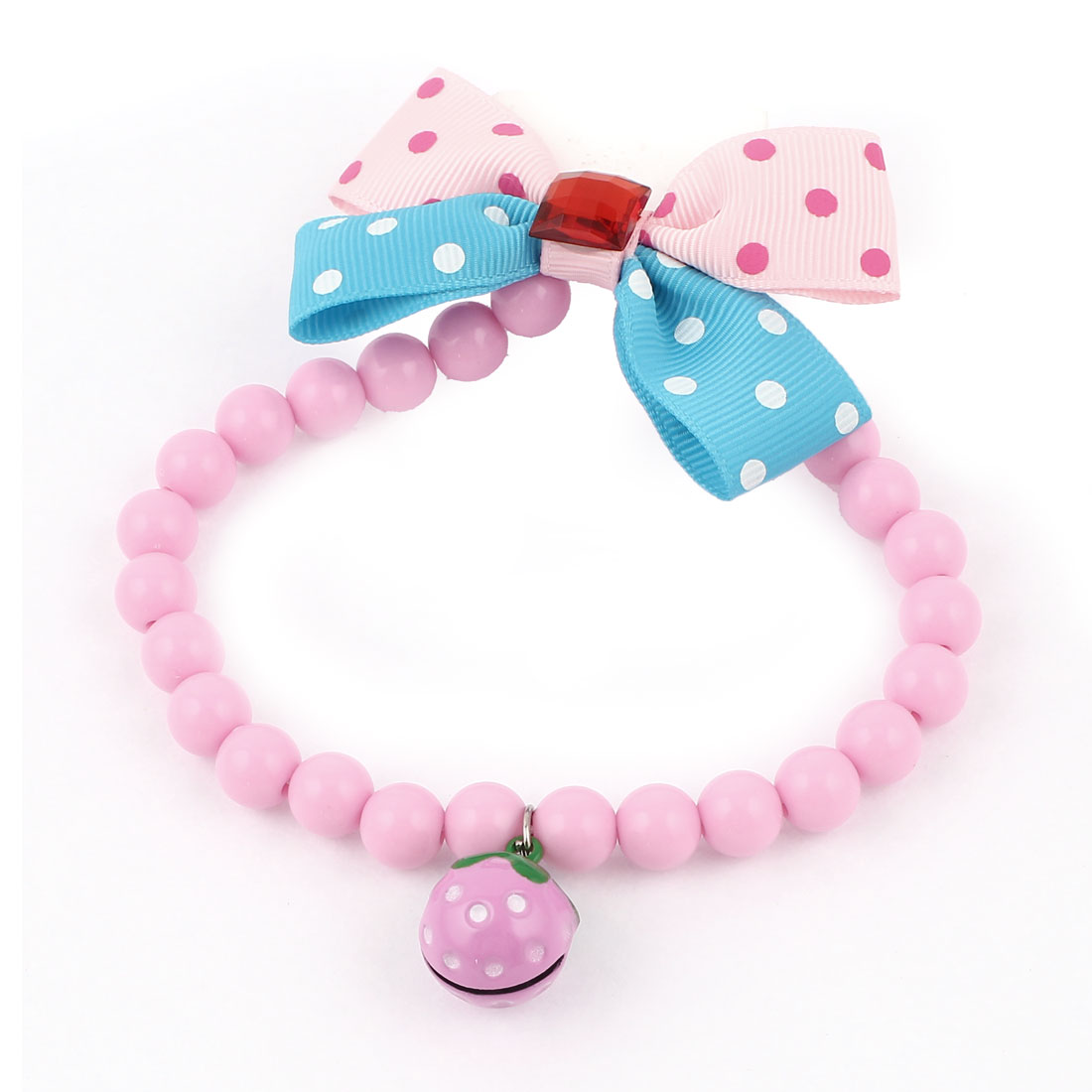 Metal Bell Pendant Bowtie Accent Pet Dog Plastic Beads Collar Necklace Pink Blue S