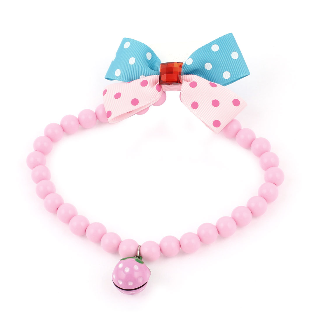 Metal Bell Pendant Bowtie Accent Pet Dog Plastic Beads Collar Necklace Pink Blue M
