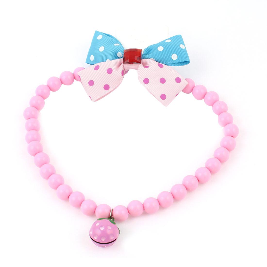 Metal Bell Pendant Bowtie Accent Pet Dog Plastic Beads Collar Necklace Pink Blue L