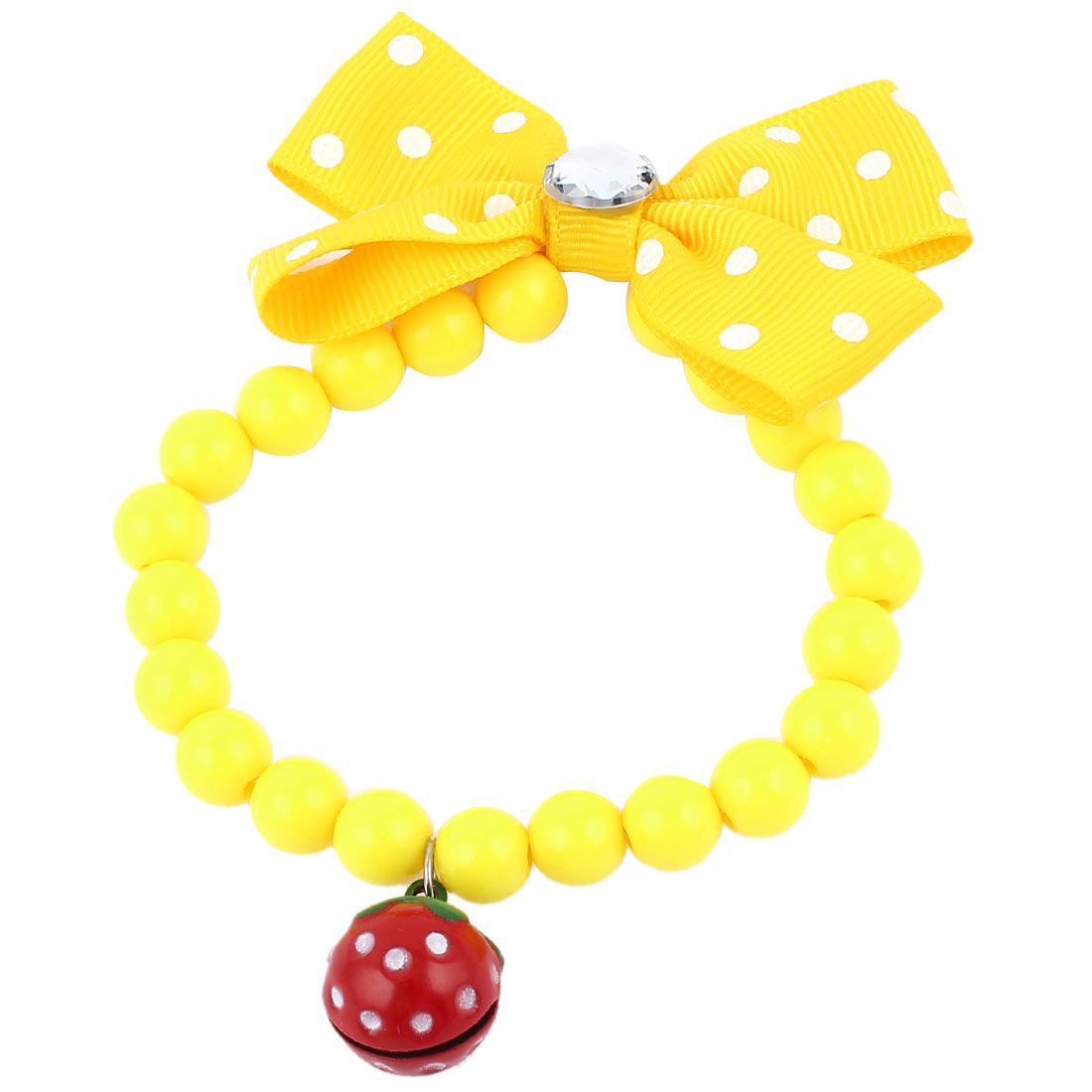 Faux Crystal Bowtie Accent Pet Dog Plastic Beads Collar Necklace Yellow XS