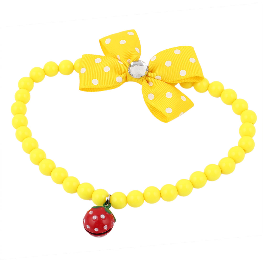 Faux Crystal Bowtie Accent Pet Dog Plastic Beads Collar Necklace Yellow L