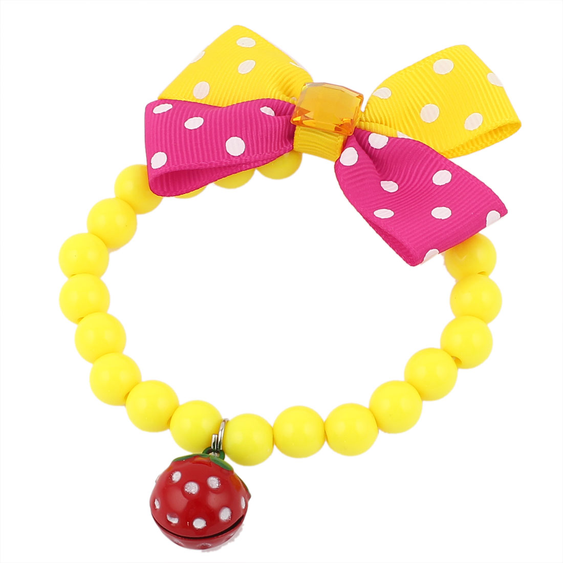 Faux Crystal Bowtie Accent Pet Dog Plastic Beads Collar Necklace Yellow Fuchsia XS