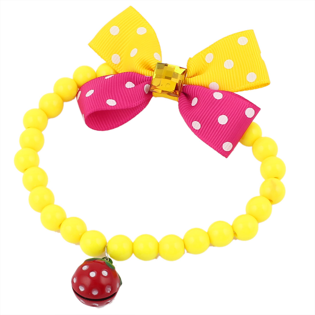 Faux Crystal Bowtie Accent Pet Dog Plastic Beads Collar Necklace Yellow Fuchsia S