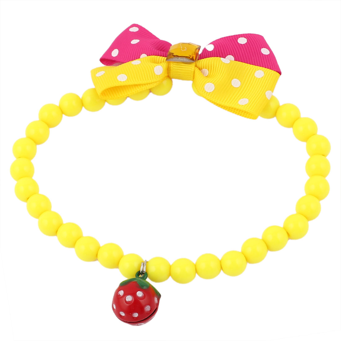 Faux Crystal Bowtie Accent Pet Dog Plastic Beads Collar Necklace Yellow Fuchsia M