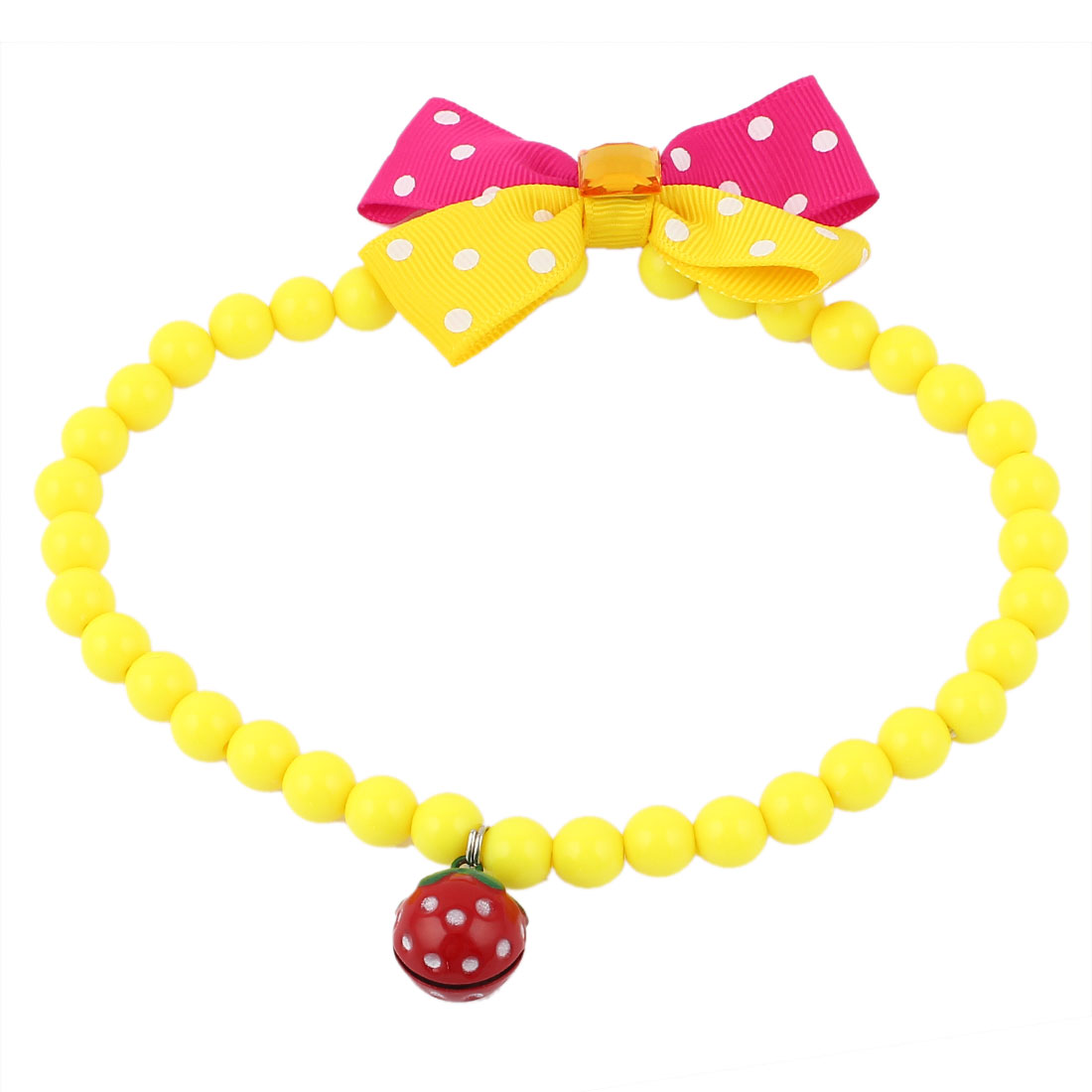 Faux Crystal Bowtie Accent Pet Dog Plastic Beads Collar Necklace Yellow Fuchsia L