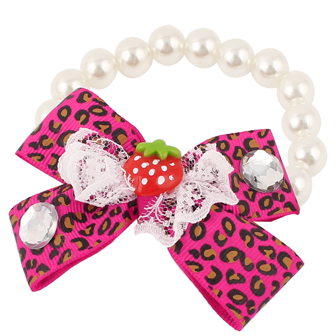 Bowtie Lace Faux Crystal Accent Pet Dog Plastic Beads Pearls Collar Necklace White Fuchsia XS