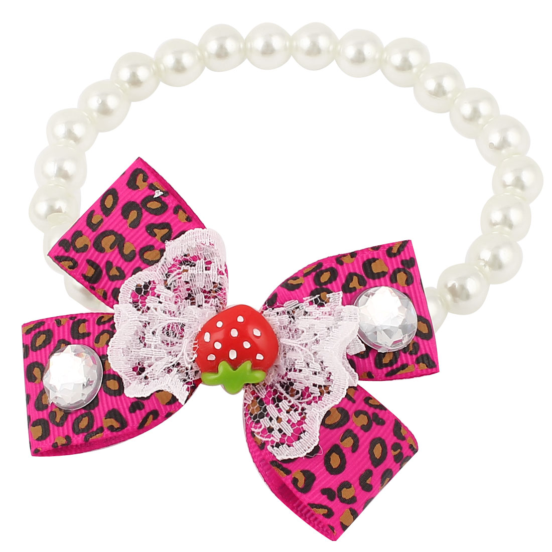 Bowtie Lace Faux Crystal Accent Pet Dog Plastic Beads Pearls Collar Necklace White Fuchsia S