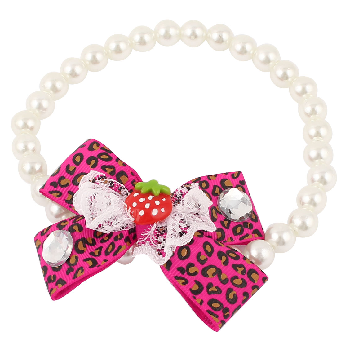 Bowtie Lace Faux Crystal Accent Pet Dog Plastic Beads Imitation Pearls Collar Necklace White Fuchsia M