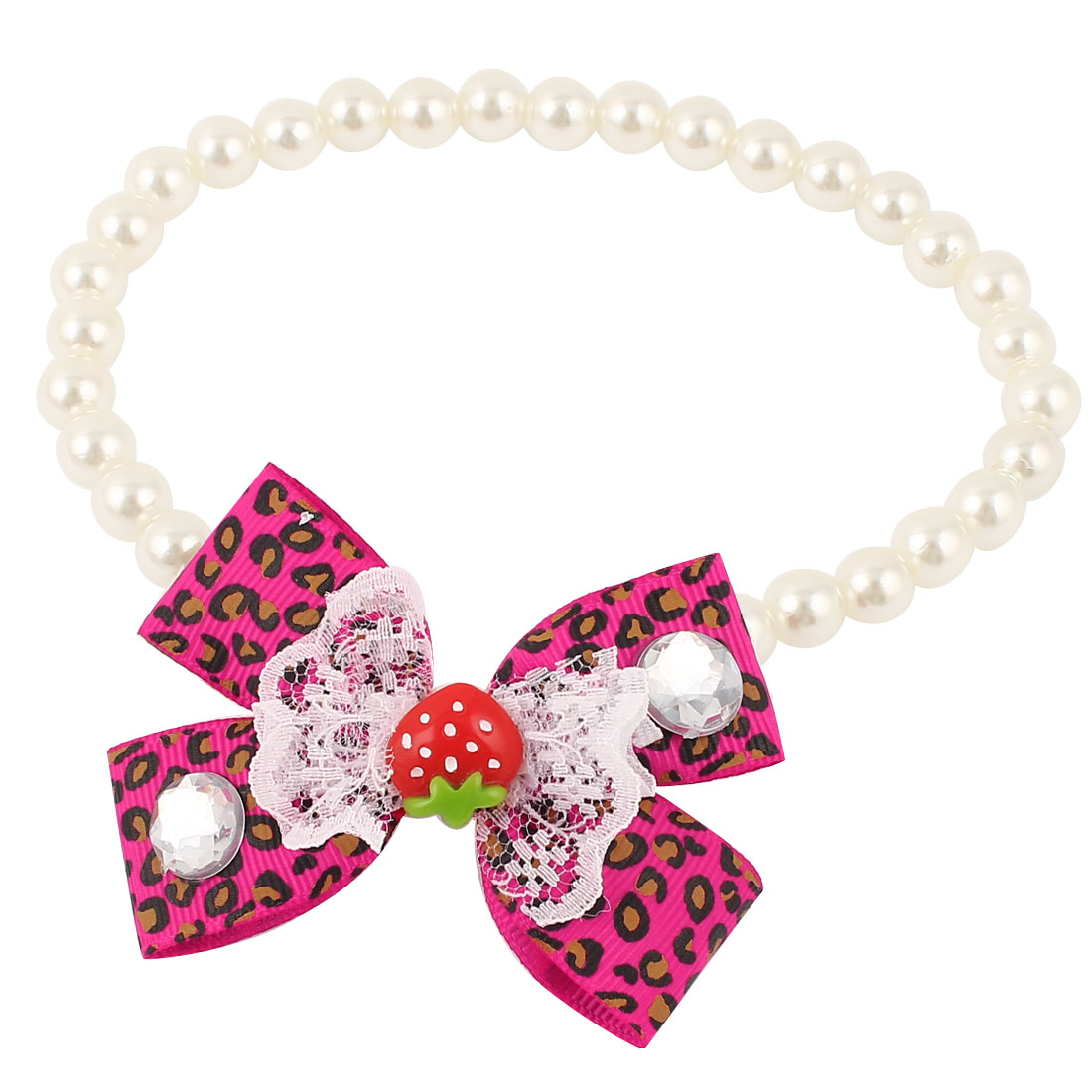 Bowtie Lace Faux Crystal Accent Pet Dog Plastic Beads Pearls Collar Necklace White Fuchsia L