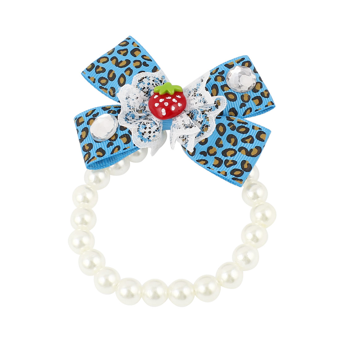 Lace Bowknot Accent Pet Dog Plastic Beads Pearls Collar Necklace White Blue XS