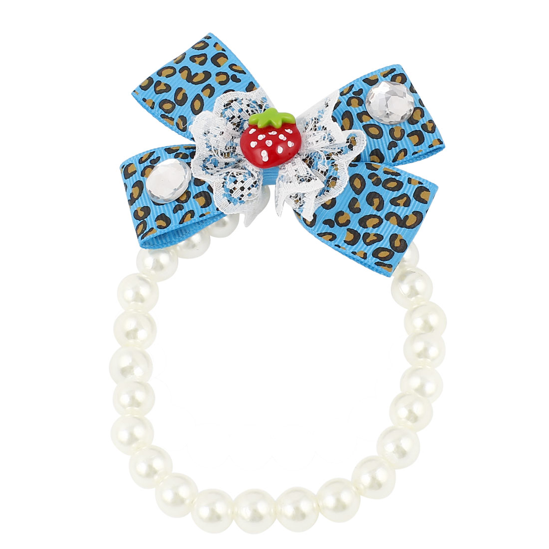 Lace Bowknot Accent Pet Dog Plastic Beads Pearls Collar Necklace White Blue S