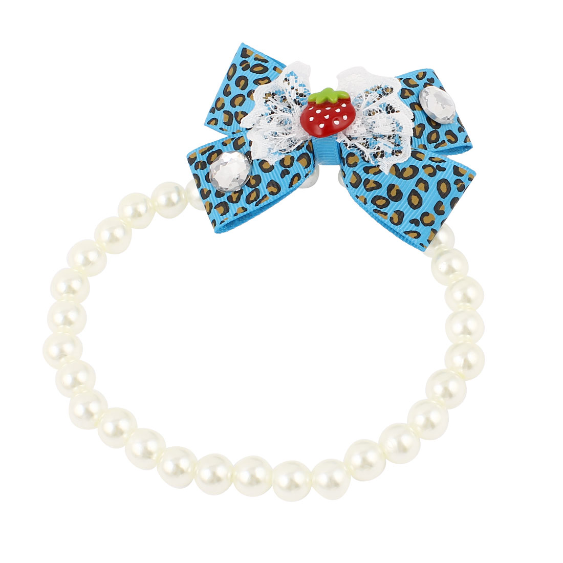 Lace Bowknot Accent Pet Dog Plastic Beads Imitation Pearls Collar Necklace White Blue M
