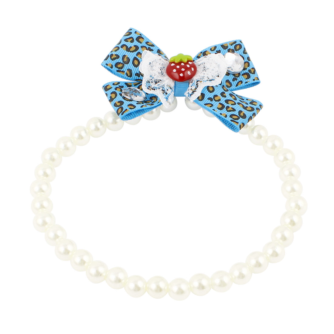 Lace Bowknot Accent Pet Dog Plastic Beads Imitation Pearls Collar Necklace White Blue L