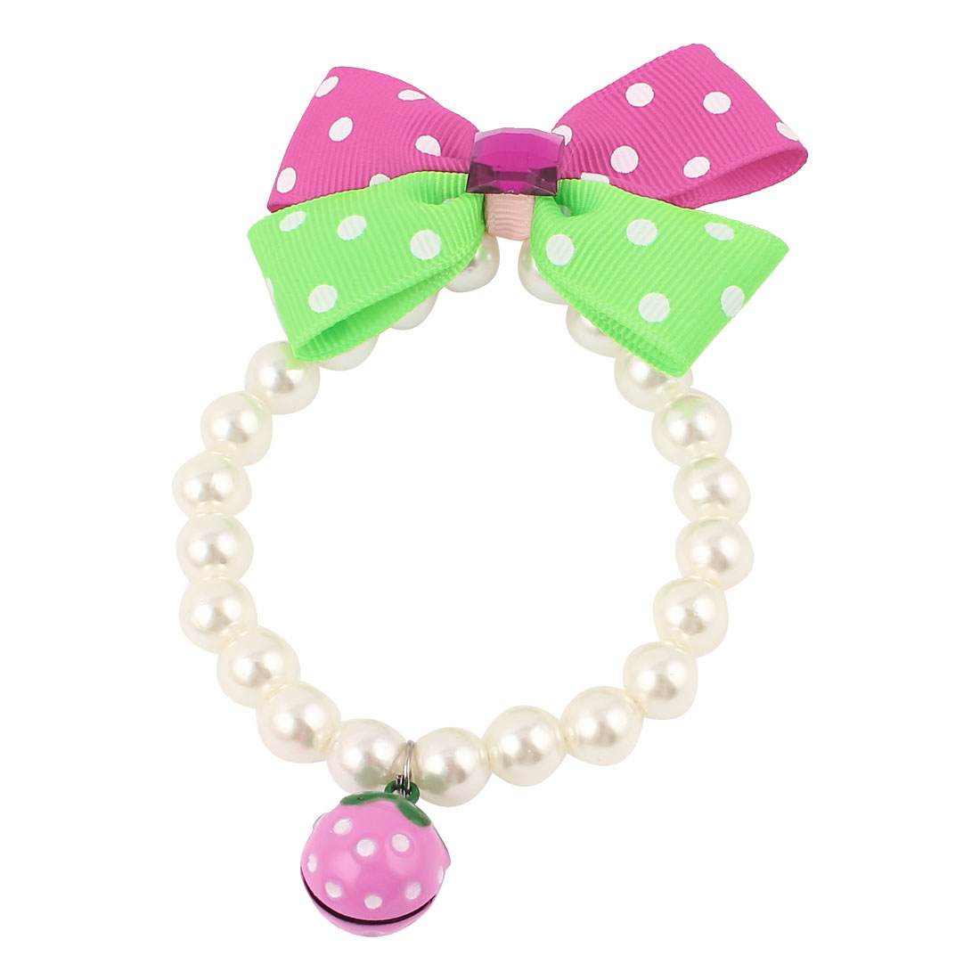 Metal Bell Pendant Bowknot Accent Pet Beads Imitation Pearls Collar Necklace White Green Fuchsia XS