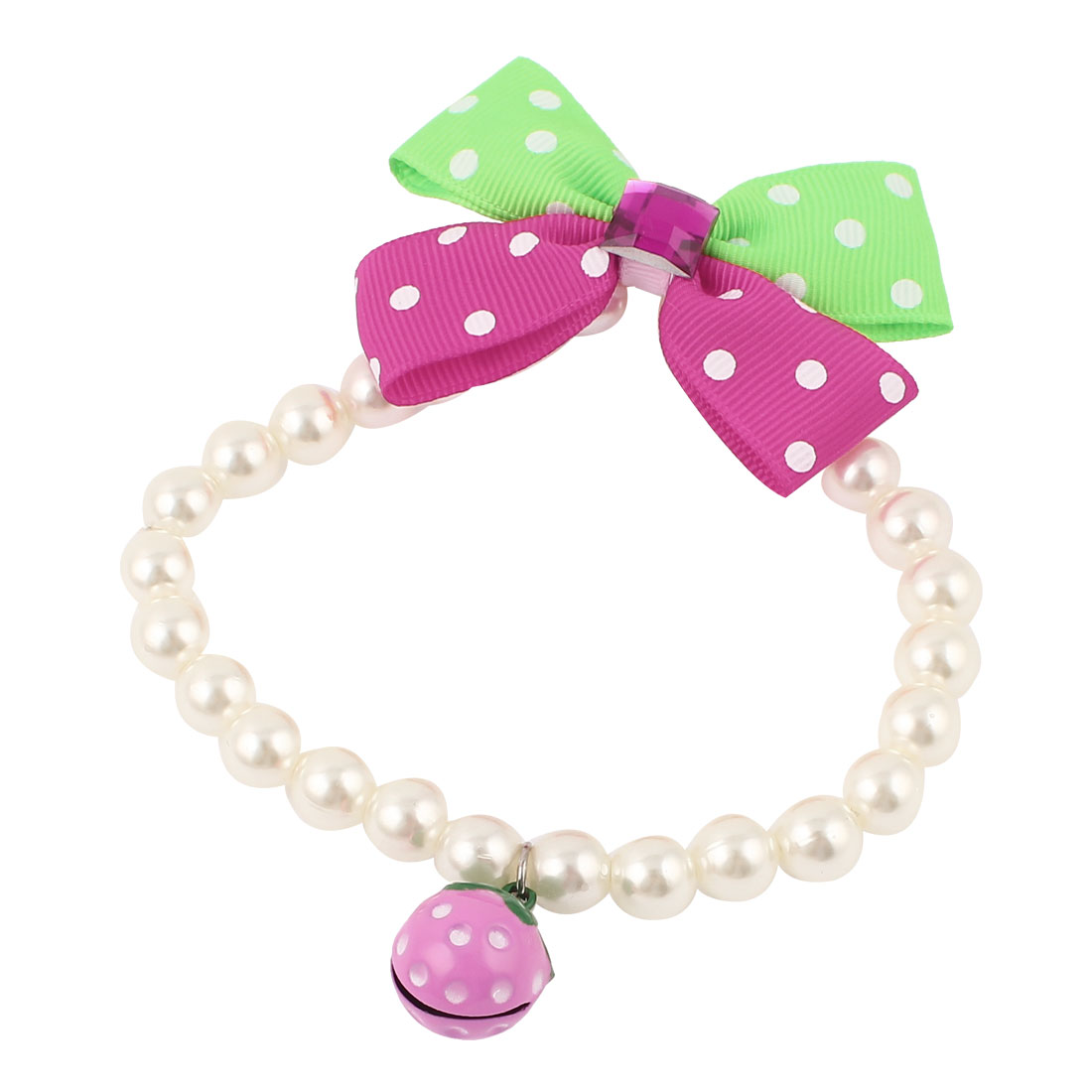 Metal Bell Pendant Bowknot Accent Pet Plastic Beads Pearls Collar Necklace White Green Fuchsia S