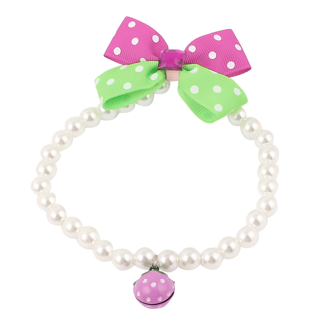 Metal Bell Pendant Bowknot Accent Pet Plastic Beads Pearls Collar Necklace White Green Fuchsia M