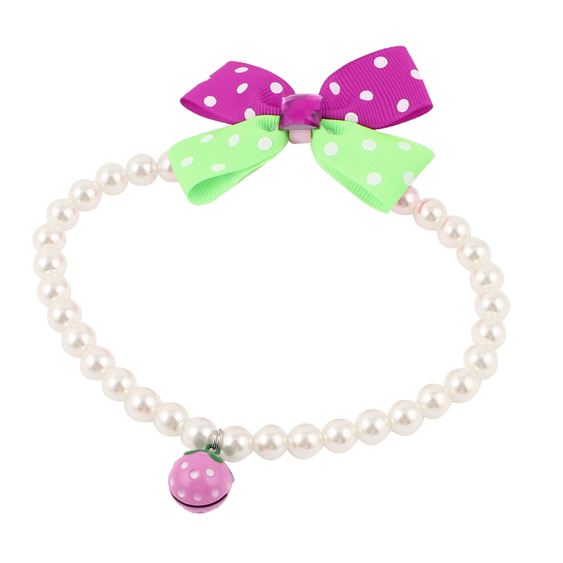Metal Bell Pendant Bowknot Accent Pet Plastic Beads Pearls Collar Necklace White Green Fuchsia L