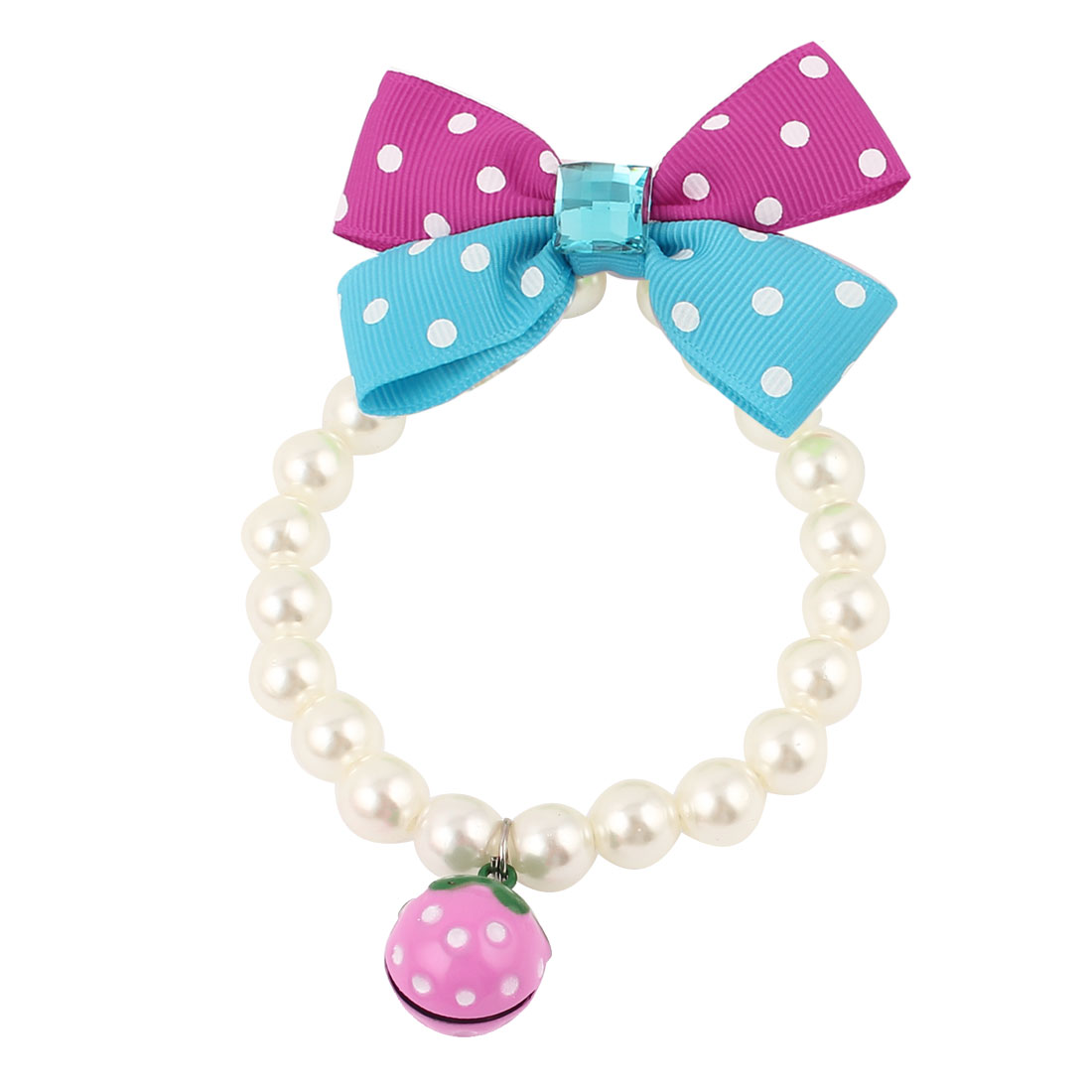 Metal Bell Pendant Bowtie Accent Pet Dog Plastic Beads Imitation Pearls Collar Necklace White XS