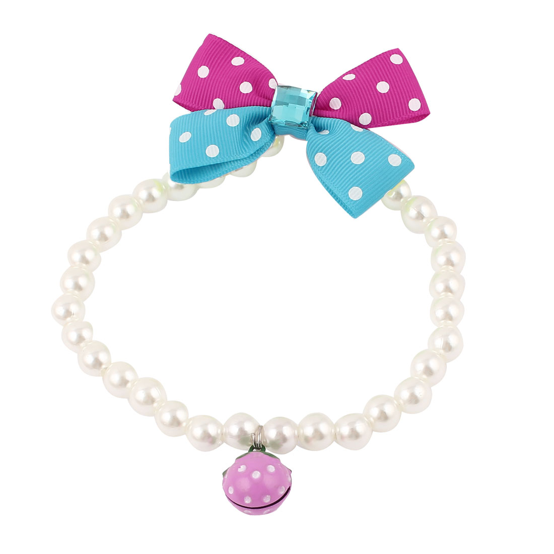 Metal Bell Pendant Bowtie Accent Pet Dog Plastic Beads Pearls Collar Necklace White M