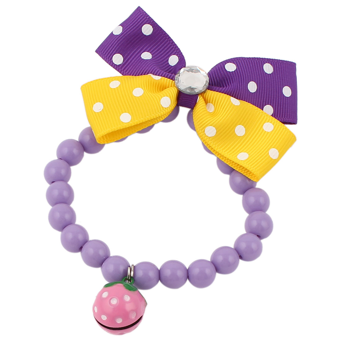 Metal Bell Pendant Bowtie Accent Pet Dog Plastic Beads Collar Necklace Purple Yellow XS