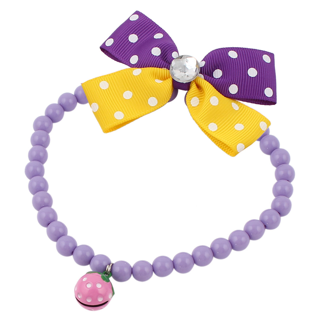 Metal Bell Pendant Bowtie Accent Pet Dog Plastic Beads Collar Necklace Purple Yellow S