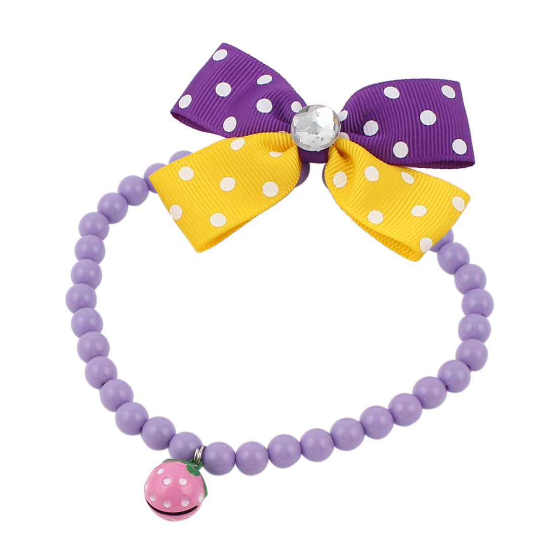 Metal Bell Pendant Bowtie Accent Pet Dog Plastic Beads Collar Necklace Purple Yellow L