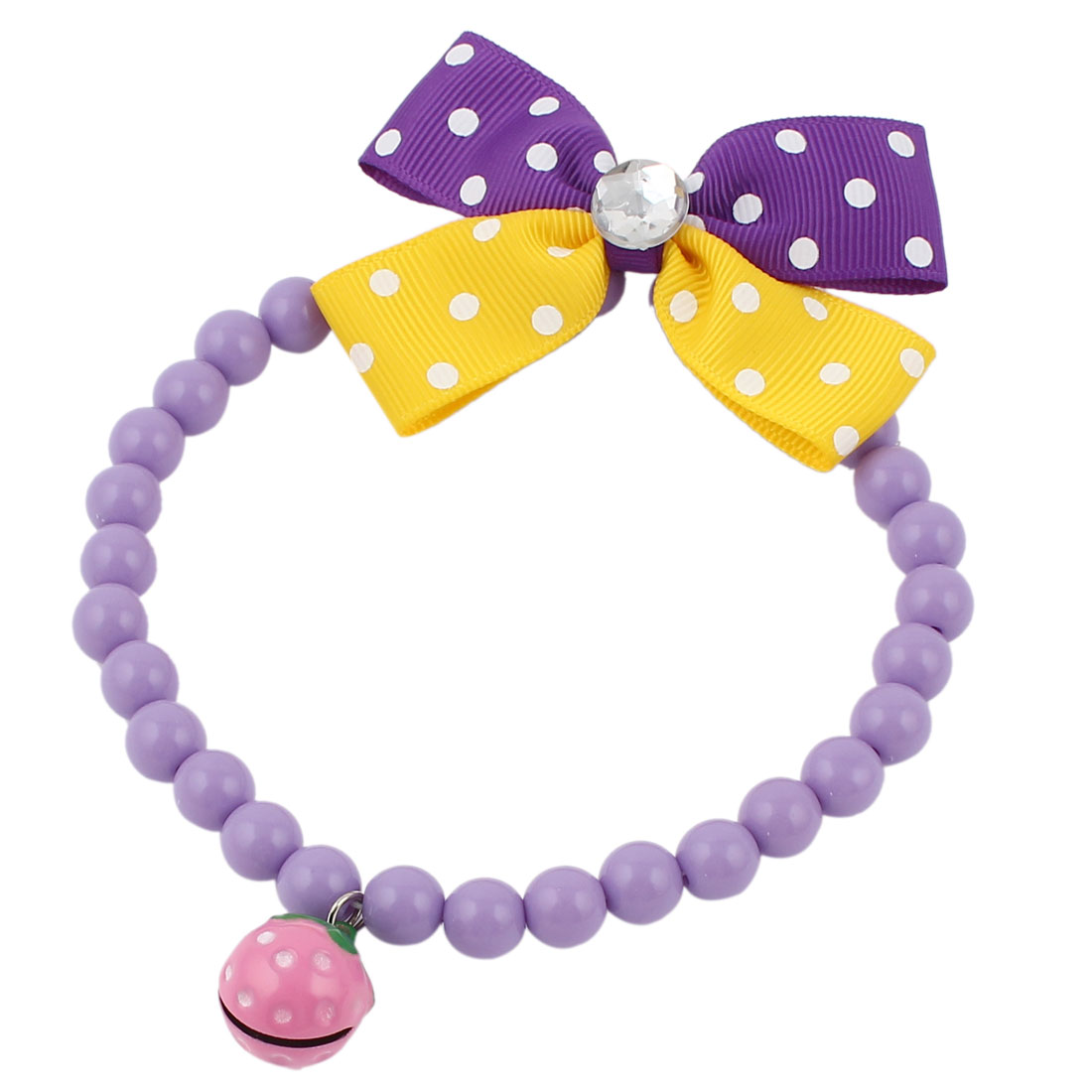 Metal Bell Pendant Bowtie Accent Pet Dog Plastic Beads Collar Necklace Purple Yellow M