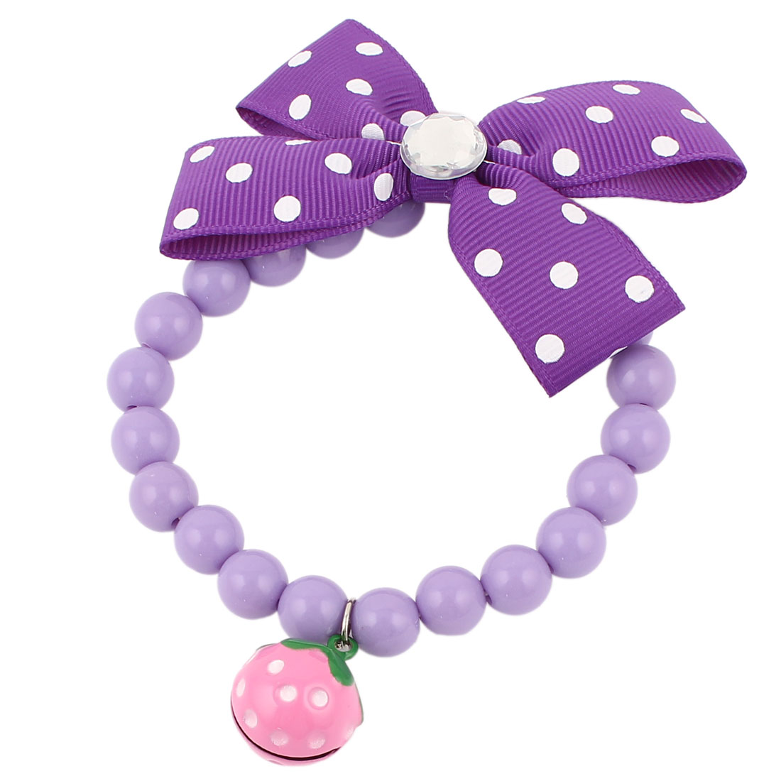 Metal Bell Pendant Bowtie Accent Pet Dog Plastic Beads Collar Necklace Purple XS