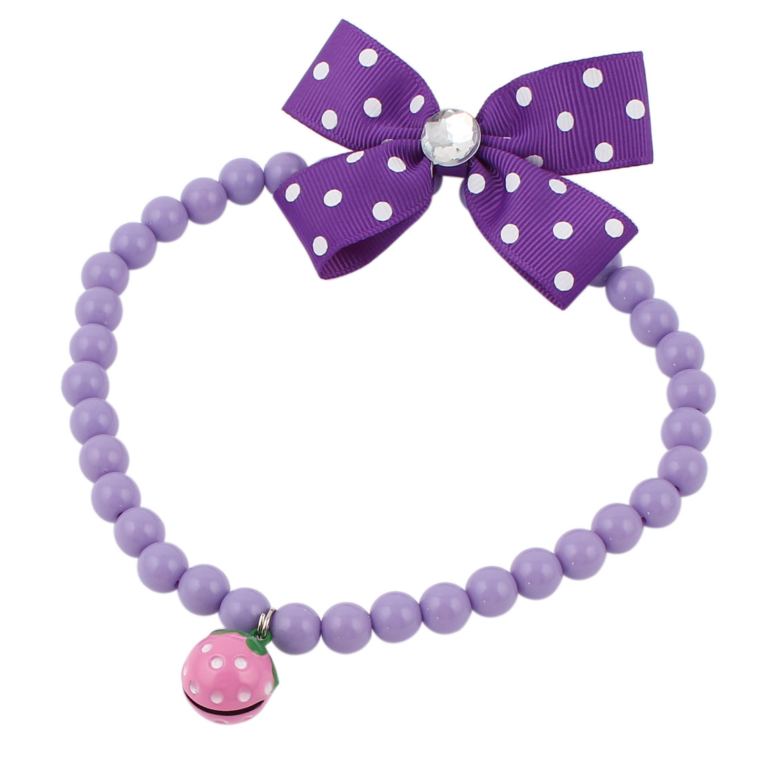 Metal Bell Pendant Bowtie Accent Pet Dog Plastic Beads Collar Necklace Purple M