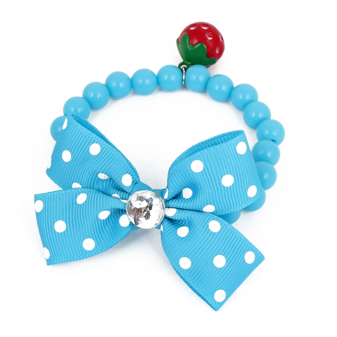 Metal Bell Pendant Bowtie Accent Pet Dog Plastic Round Beads Collar Necklace Blue XS